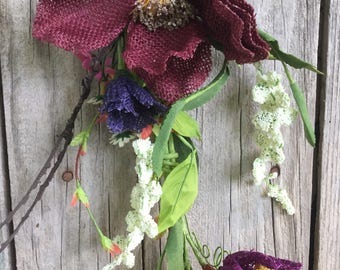 Summer Flower Garland with Burgundy Burlap Flowers