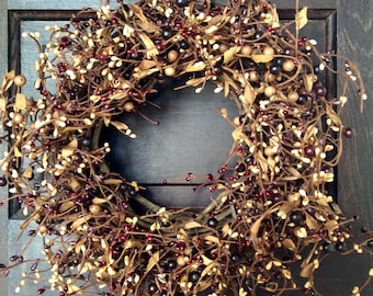 Mulberry Pip Berry Wreath for Year Round Primitive Decor