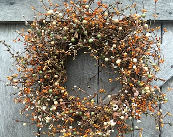 Fall Wreath with Cream, Green and Orange and Cream Pip Berries