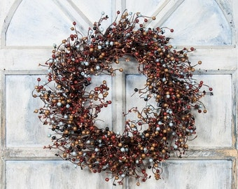 Fall Wreath with Orange, Light Blue and Black Pip Berries
