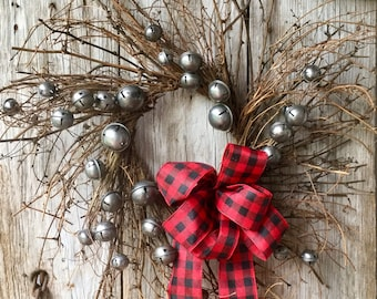 Vintage Jingle Bell Wreath on Twig Base with Buffalo Check Bow