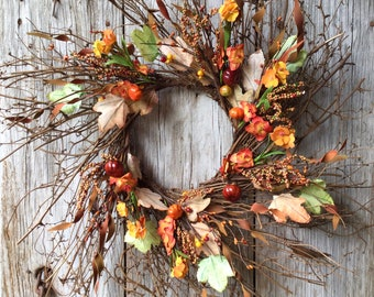 Fall Wreath with Orange and Yellow Flowers, Berry Clusters and Mini Pumpkins