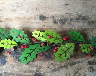 Christmas Garland with Wood Holly Leaves and Red Berries
