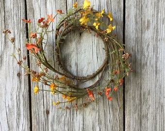 Fall Outdoor Wreath with Orange and Yellow Flowers