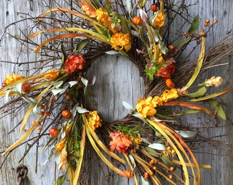 Twig Wreath with Fall Flowers and Berries