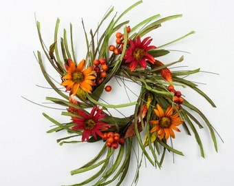 Fall Candle Ring and Wreath with Pip Berries and Sunflowers
