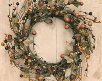 Fall Wreath with Acorns and Pip Berries