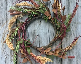 Fall Wreath Ring with Maple Leaves, Pine Stems and Berry Clusters
