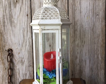 Distressed White Lantern with Red Candle and Candle Ring