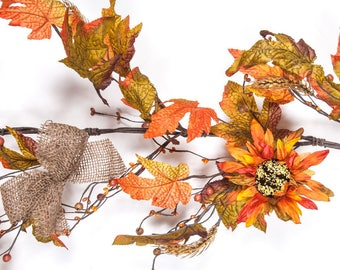 Fall Sunflower Garland with Wheat, Berries, Fall Leaves, and Burlap Bows