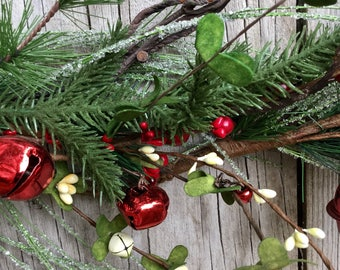 Holiday Garland with Red and White Bells, Berries and Icy Pine Stems