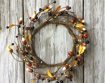 Candy Corn and Pip Berry Mini Wreath or Large Candle Ring