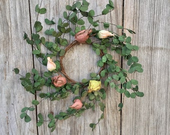 Boxwood and Floral Candle Ring, Mini Wreath and Garland