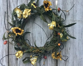 Fall Sunflower Candle Ring or Mini Wreath