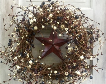 Patriotic Wreath with Burgundy,Navy and Cream Pip Berries and Center Barn Star,Americana Wreath,4th of July Wreath,Primitive Wreath,MTO