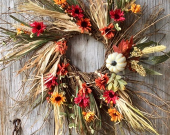 Extra Large Fall Wreath with Mums, Berries and Pumpkin Accents