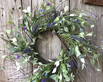 Twig Wreath with Purple Flowers and Greenery