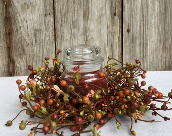Fall Pip Berry Wreath with Mini Flowers