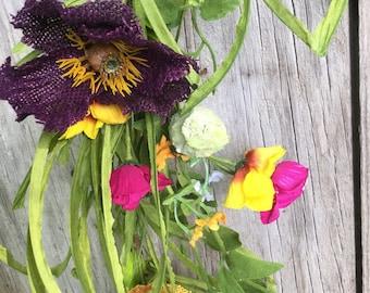 Summer Flower Garland with Burlap Flowers