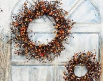 Burgundy and Rose Hip Pip Berry Wreath