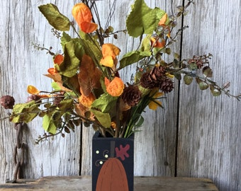 Wood Pumpkin Vase with Mini Pinecones and Bright Fall Leaves