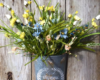 Farmhouse Wall Pocket with Spring and Summer Flowers