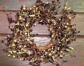 Burgundy Pip Berry Candle Ring, Large Candle Ring, Primitive Wreath, Pip Berry Centerpiece, Mini Wreath, Primitive Decor, Free Shipping