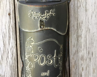 Distressed Black Metal Post Box, Post Box Floral Container, Outdoor Floral Container, Metal Post Box