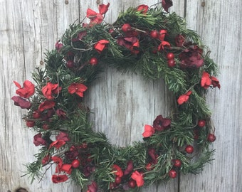 Winter Pine Wreath with Red Berries and Flowers