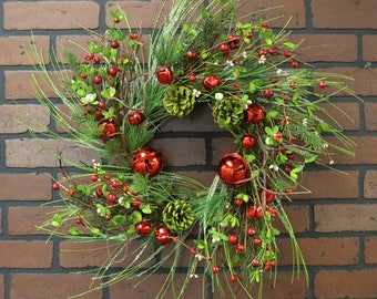 Winter Wreath with Pine Cones, Winter Greens, and Jingle Bells