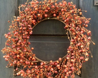 Primitive Autumn Wreath with Orange Pip Berries and Baby Pumpkins