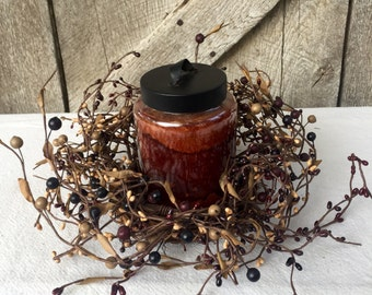 Pip Berry Candle Ring-Small Grapevine and Pip Berry Wreath- Pip Berry Centerpiece-Primitive Centerpiece-Rustic Centerpiece - Free Shipping