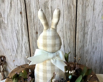 Gingham Bunny with Easter Floral and Dough Bowl, Easter Decor, Easter Bunny, Farm House Decor