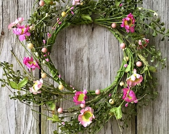 Spring Farmhouse Wreath with Pink Flowers, Berries and Greenery