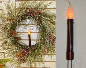 Battery Operated Burgundy Taper Candle