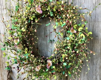 Farmhouse Wreath with Pink Crocus and Pip Berries