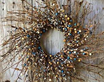 Twig Sunburst Wreath with French Blue and Cream Pip Berries