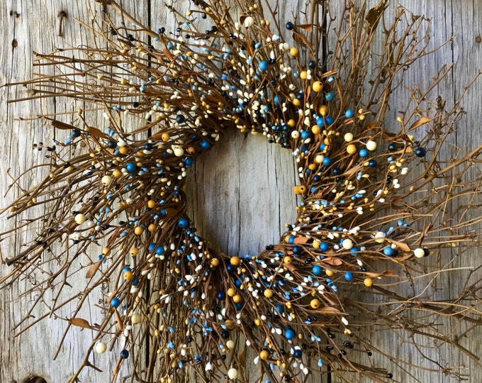 Featured listing image: Twig Sunburst Wreath with French Blue and Cream Pip Berries