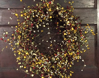 Christmas Wreath with Vintage Green, Cream, Red and Yellow Berries