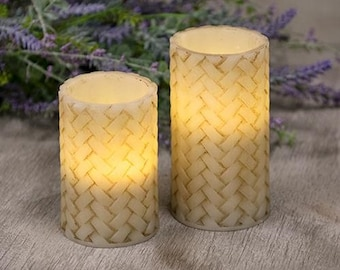 Primitive Flameless Pillar Candles with Timer Feature