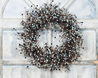 Pip Berry Wreath-Light Blue and Black Berry Wreath-Wreath with Mixed Berries--Primitive Wreath-Large Candle Ring-Centerpiece-Free Shipping