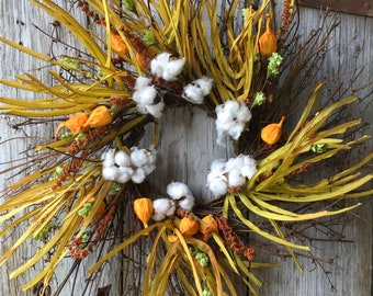 Fall Wreath with Chinese Lanterns, Cotton Pods and Berries