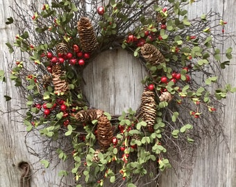Christmas Wreath with Red Pip Berries and Red Jingle Bells