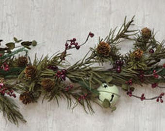 Country Pine Garland with Jingle Bells and Pine Cones