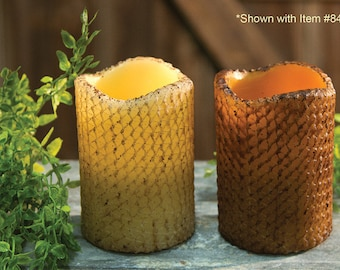 Flameless Honeycomb Pillar Candle with Timer Feature