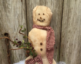 Primitive Snowman with Rusty Jingle Bells and Homespun Scarf