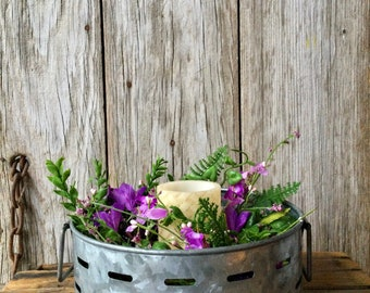 Olive Tray Centerpiece with Purple Wildflowers and Flameless Candle