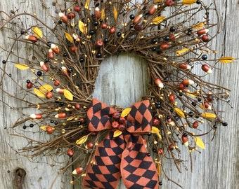 Primitive Candy Corn Wreath