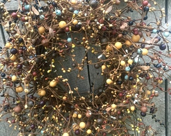 Autumn Pip Berry Wreath in Mixed Fall Colors
