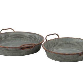 Galvanized Round Tray Set